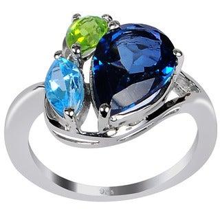 Orchid Jewelry 925 Sterling Silver Ring 4.85ct TGW Genuine London Blue Topaz, Peridot & Blue Topaz