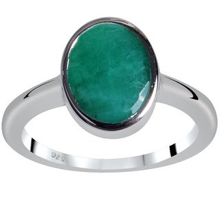 Orchid Jewelry 925 Sterling Silver Ring 1.70ct TGW Genuine Emerald