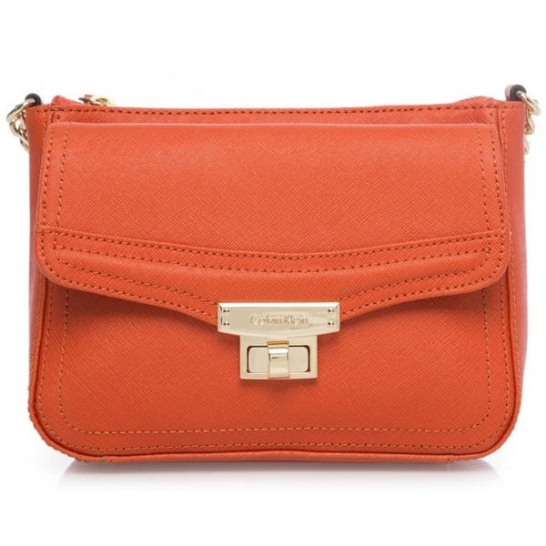 Calvin Klein Key Item Burnt Orange Saffiano Crossbody Handbag