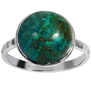 Orchid Jewelry 925 Sterling Silver Ring 6.0ct TGW Genuine Chrysocolla
