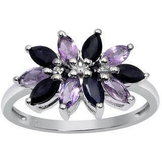 Orchid Jewelry 925 Sterling Silver Ring 1.70ct TGW Genuine Amethyst & Sapphire