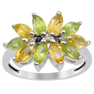 Orchid Jewelry 925 Sterling Silver Ring 1.60ct TGW Genuine Citrine Peridot & Sapphire
