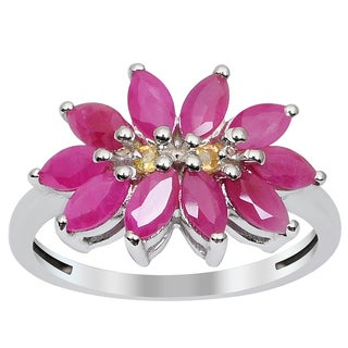 Orchid Jewelry 925 Sterling Silver Ring 1.80ct TGW Genuine Ruby & Citrine
