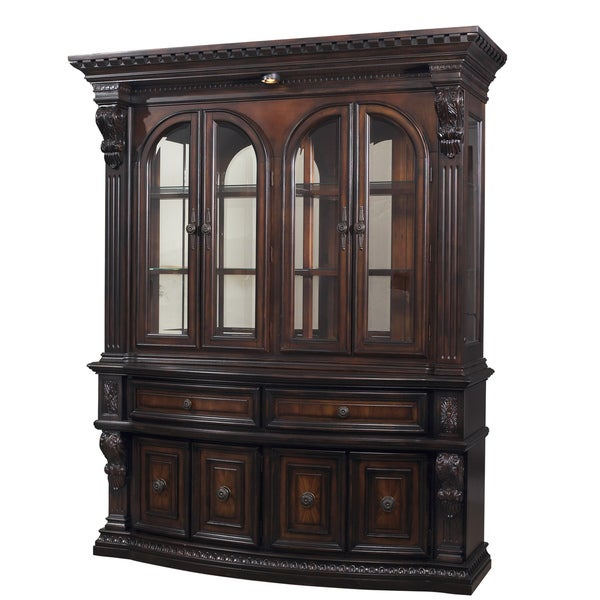 Devonwood Cinnamon Weathered Black Buffet and Hutch