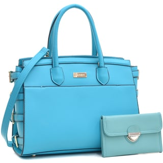 Dasein Women's Classic Work Satchel Handbag & Faux Leather Wallet with Buckle Snap Closure