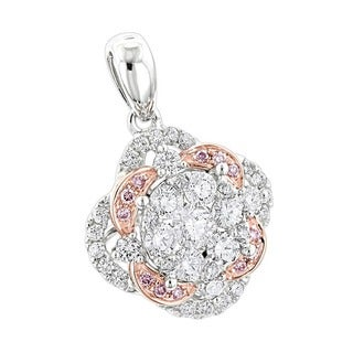 Luxurman 14k Gold 1 2/5ct TDW Flower Cluster White & Pink Diamond Pendant (SI1-SI2)