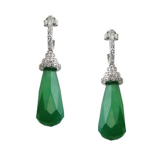 One-of-a-kind Dallas Prince Green Agate and Cubic Zirconia Drop Earrings
