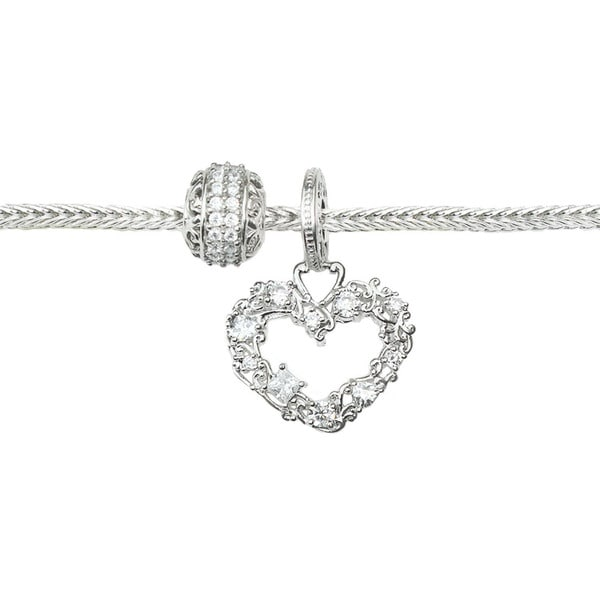 Michael Valitutti Cubic Zirconia Carnaval Heart and Eternity Charm Bracelet