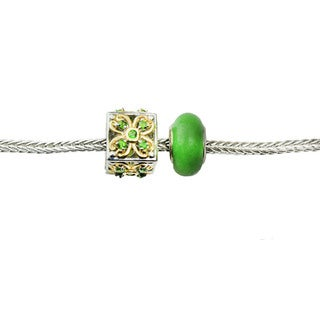 One-of-a-kind Michael Valitutti Chrome Diopside Box and Green Jade Donut Charm Bracelet