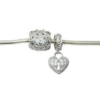 Michael Valitutti Cubic Zirconia Heart Lock and Oval Charm Bracelet