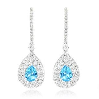 Luxurman 14k Gold 1 5/8ct TDW Blue Topaz Diamond Drop Earrings (G-H, SI1-SI2)