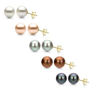 DaVonna Yellow Gold over Sterling Silver Round Cultured Freshwater Pearl Stud Earring (5-6 mm)