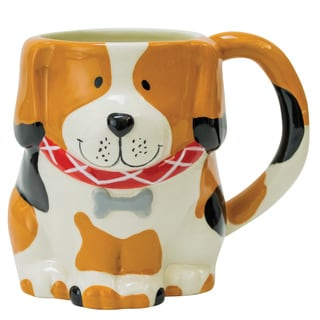 18 Ounce Dog Mug in Black, White, and Brown