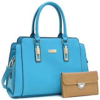 Dasein Faux Leather Work Satchel Handbag & Faux Leather Wallet with Buckle Snap Closure