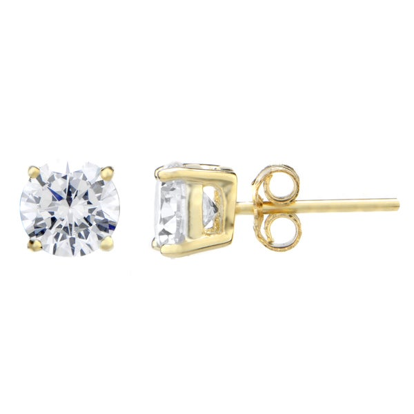 Round Cut CZ Goldtone Stud Earrings