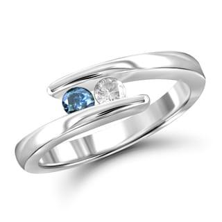 Jewelonfire 10k Gold 1/4ct TDW Blue and White Diamond 2-stone Ring (I-J, I2-I3)