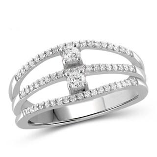 Jewelonfire 10k Gold 1/3ct TDW White Diamond Dual Cut-out Ring (I-J, I2-I3)