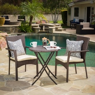 Christopher Knight Home Elba Outdoor 3-piece Wicker Bistro Set with Cushions