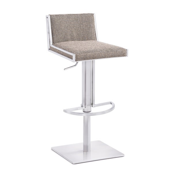 Elio Contemporary Low Back Stainless Steel Adjustable Bar Stool