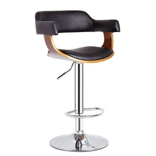 Walnut Chrome Adjustable Swivel Barstool