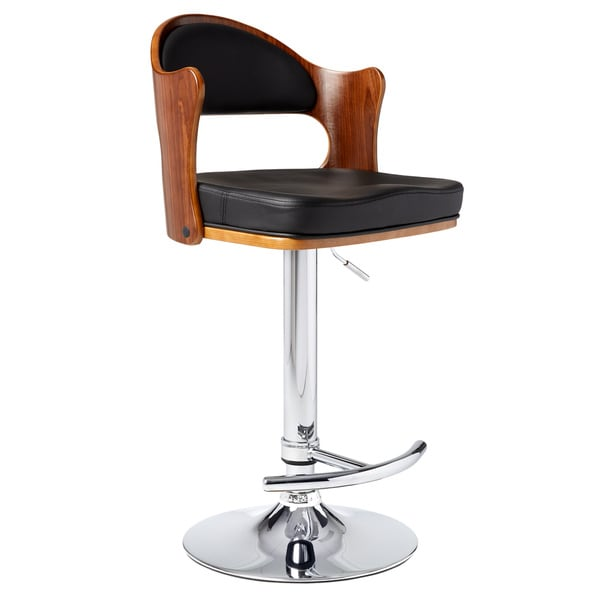 Walnut Black PU Adjustable Swivel Bar Stool with Chrome Base