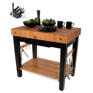 John Boos Cherry Butcher Block Table with Knife Set