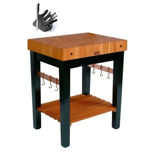 John Boos Grain Cherry Butcher Block Table With Casters and Knife Set