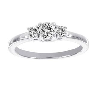H Star 14K White Gold 1/2ct TDW Diamond Three Stone Engagement Ring (I-J, I2-I3)