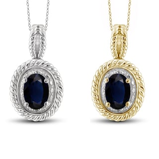 Jewelonfire Sterling Silver Sapphire and White Diamond Accent Pendant