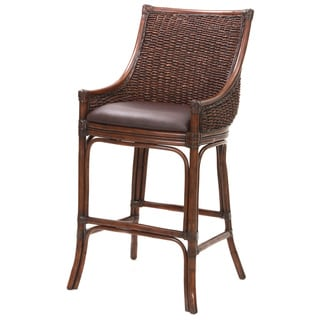 Wicker Bar Stool with Cushioned Seat in Dark Brown