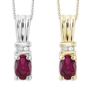Jewelonfire Sterling Silver Ruby and Diamond Accent Pendant