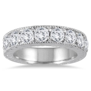 Marquee Jewels 10K White Gold 1 1/2ct TDW Engraved Antique Styled Channel Band (J-K, I2-I3)