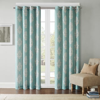 Madison Park Kensington Texture Damask Printed Grommet Top Curtain Panel