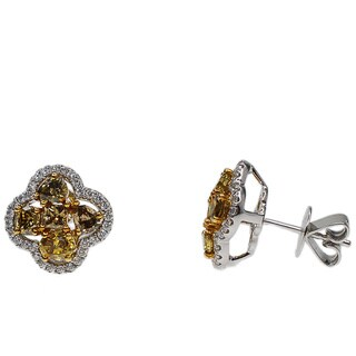 Kabella 18k White Gold 2 1/10ct TDW Yellow and White Diamond Flower Earrings (G-H, SI1-SI2)