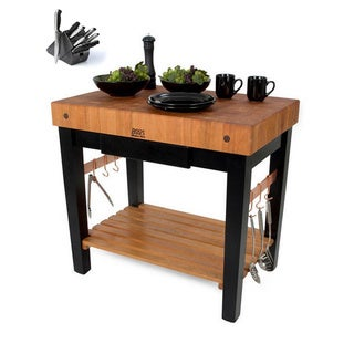 John Boos Cherry Wood Grain Butcher Block Table with Knife Set