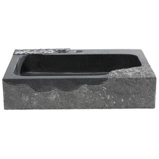 Jaki Artistic Black Rough Edged Granite Rectangular Sink