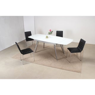 Extended Black 5 Piece Oval Dining Set