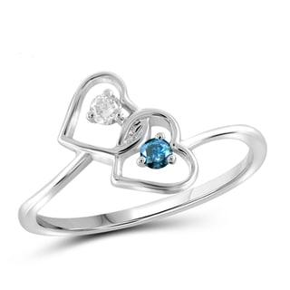 Jewelonfire 10k Gold 1/10ct TDW Blue and White Diamond 2-stone Heart Ring (I-J, I2-I3)