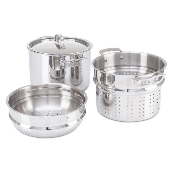 Viking 3-Ply Multi-Cooker/ Pasta Pot with Bonus Steamer 8 quart Silver