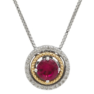 1/10ct TDW Sterling Silver and 14k Gold Created Ruby Pendant