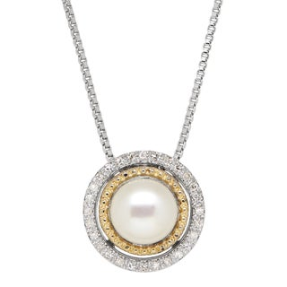1/10ct TDW Sterling Silver and 14K Gold Freshwater Cultured Pearl Pendant