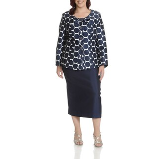 Giovanna Collection Women's Plus Size Polka Dot 2 Piece Skirt Suit