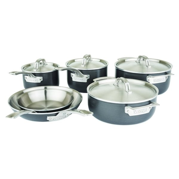 Viking Hard Stainless 5-Ply Cookware with Hard Anodized Exterior and Stainless Interior 10 Pc. Cookware Set