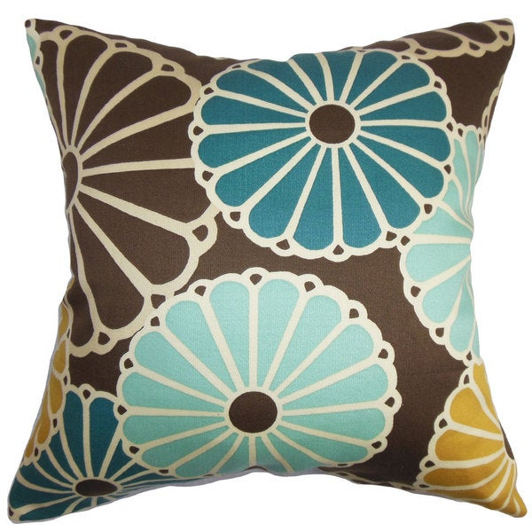 Gisela Floral Down and Feather Filled Throw Pillow with Hidden Zipper Closure 18-inch Turquoise Brown