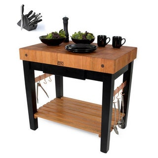 John Boos Cherry Wood Grain Butcher Table with Knife Set