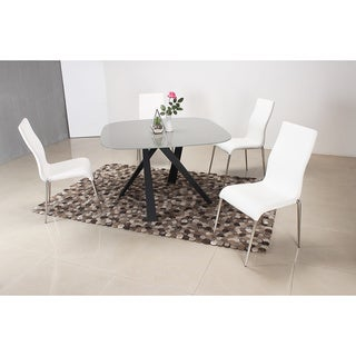 White and Grey Oval 5 Piece Dining Set
