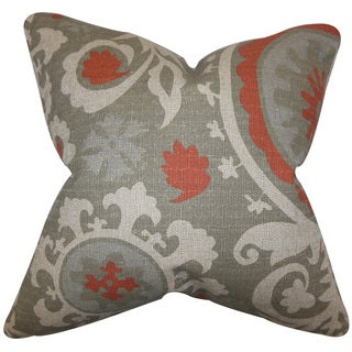 Wella Floral Down and Feather Filled Throw Pillow with Hidden Zipper Closure 18-inch Gray