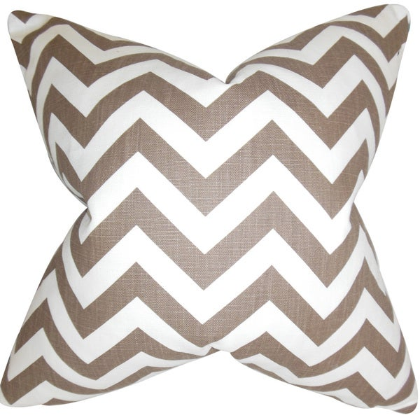 Xayabury Zigzag Down and Feather Filled Throw Pillow with Hidden Zipper Closure 18-inch Village Brown 18239474