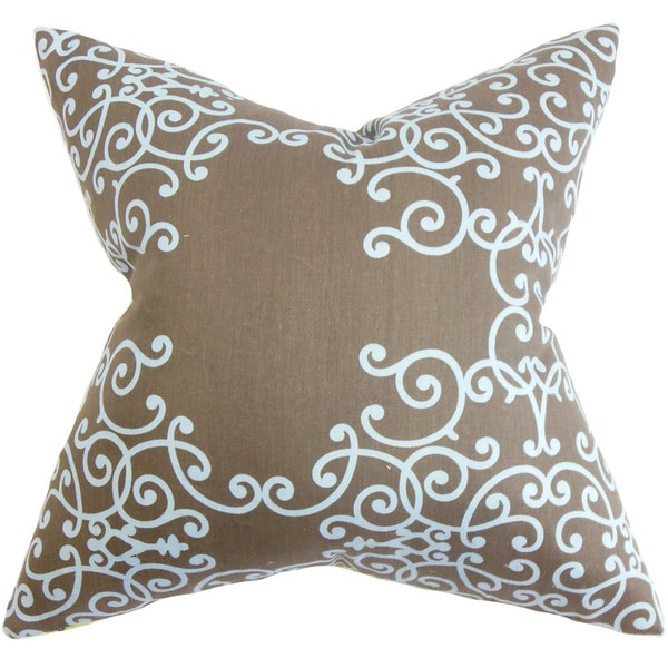 Fianna Floral Down and Feather Filled Throw Pillow with Hidden Zipper Closure 18-inch Brown Aqua