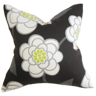 Junot Floral Down and Feather Filled Throw Pillow with Hidden Zipper Closure 18-inch Black